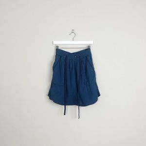 Anthropologie | maeve blue short tie mini skirt
